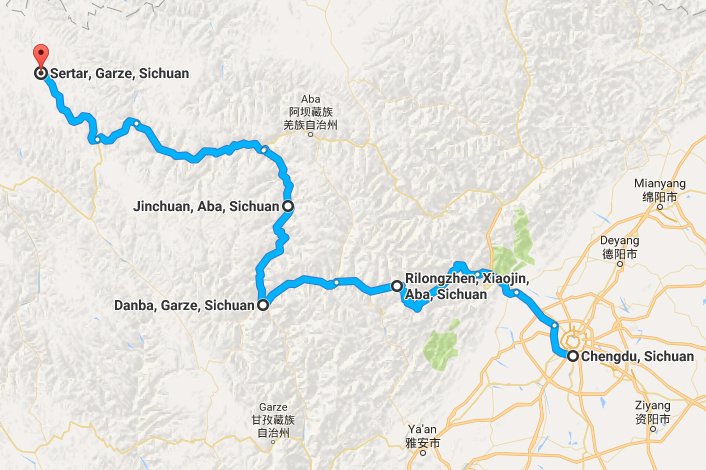 Image: The map of Oleg's trip to Sichuan, China in 2016